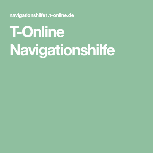 T Online Navigationshilfe Deaktivieren
