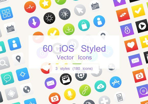 60 iOS Style Vector Icons @creativework247