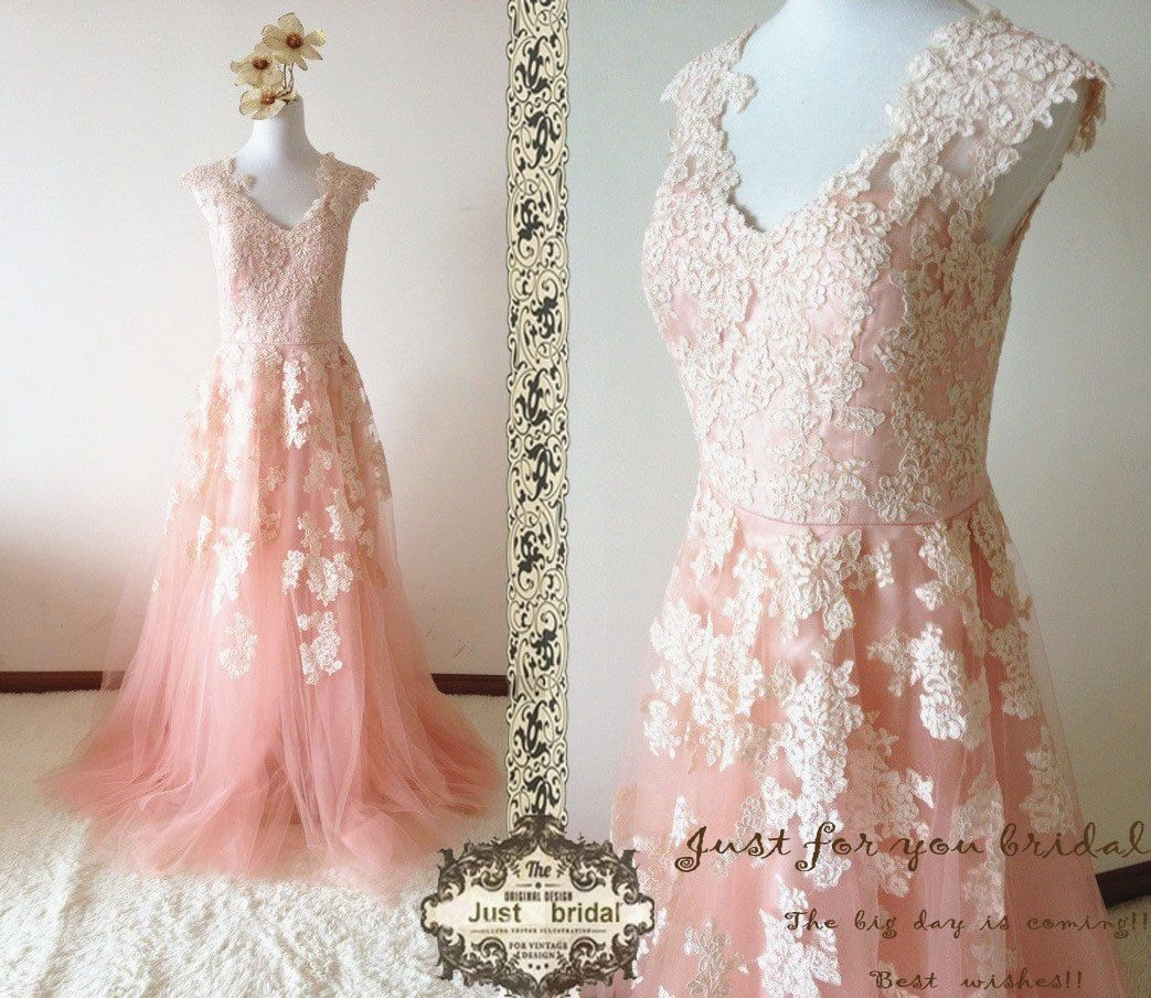 Vintage Lace Cap Sleeves Tulle Princess Wedding Dresses: Dark Blush V Neck Cap Sleeves Princess Tulle Lace By