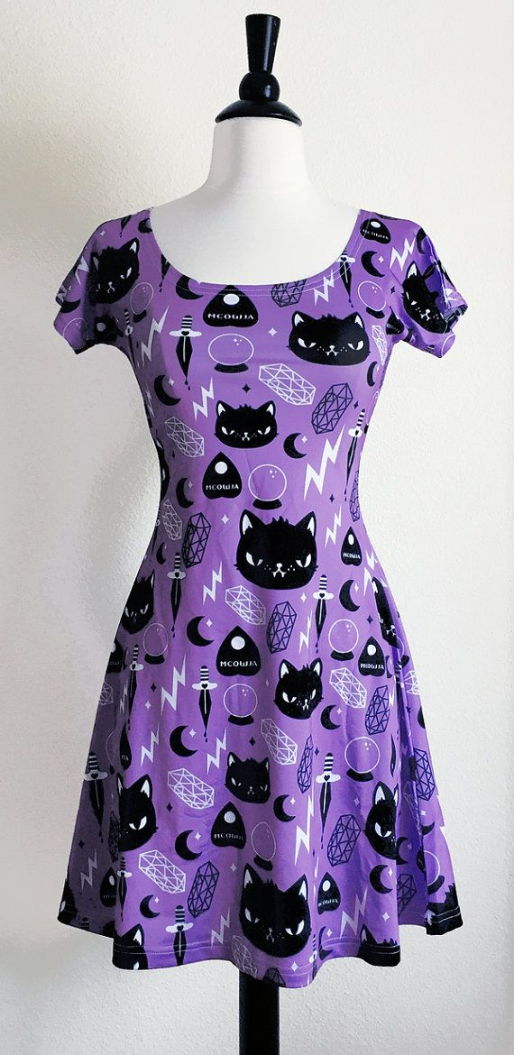 Cat Magic Skater Fit and Flare Dress Size S-3X by emandsprout