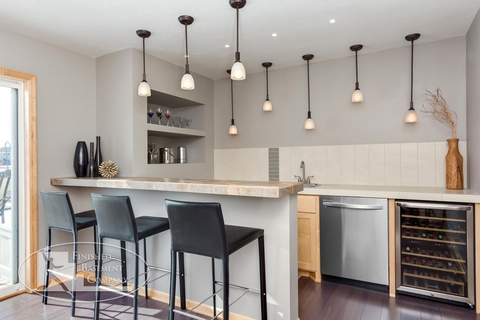 Image By Finished Basement Company I Like The Opening As You Walk In Modern Kitchen Bar Wet Bar Designs Modern Basement