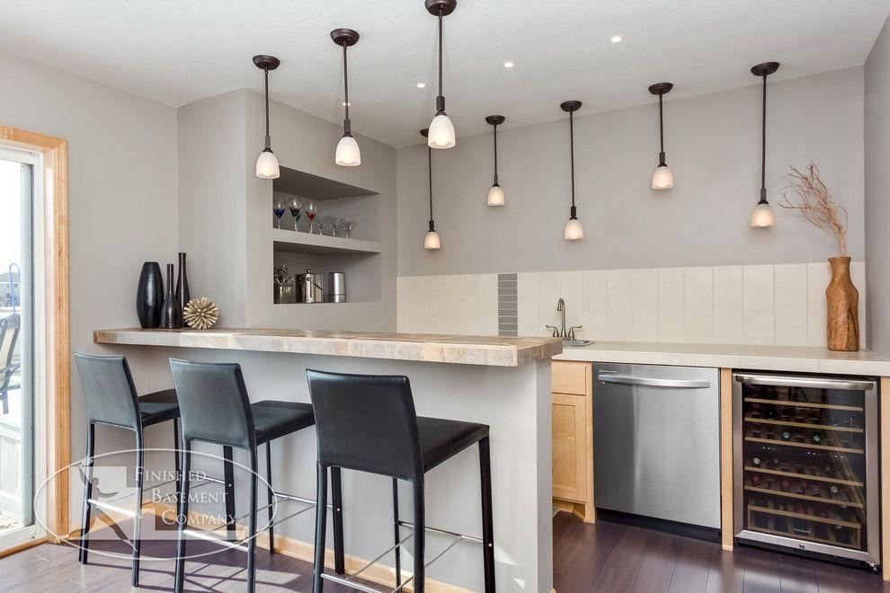 Awesome Wet Bar Ideas For Basement Basement Modern With Accent Art Niche Bar