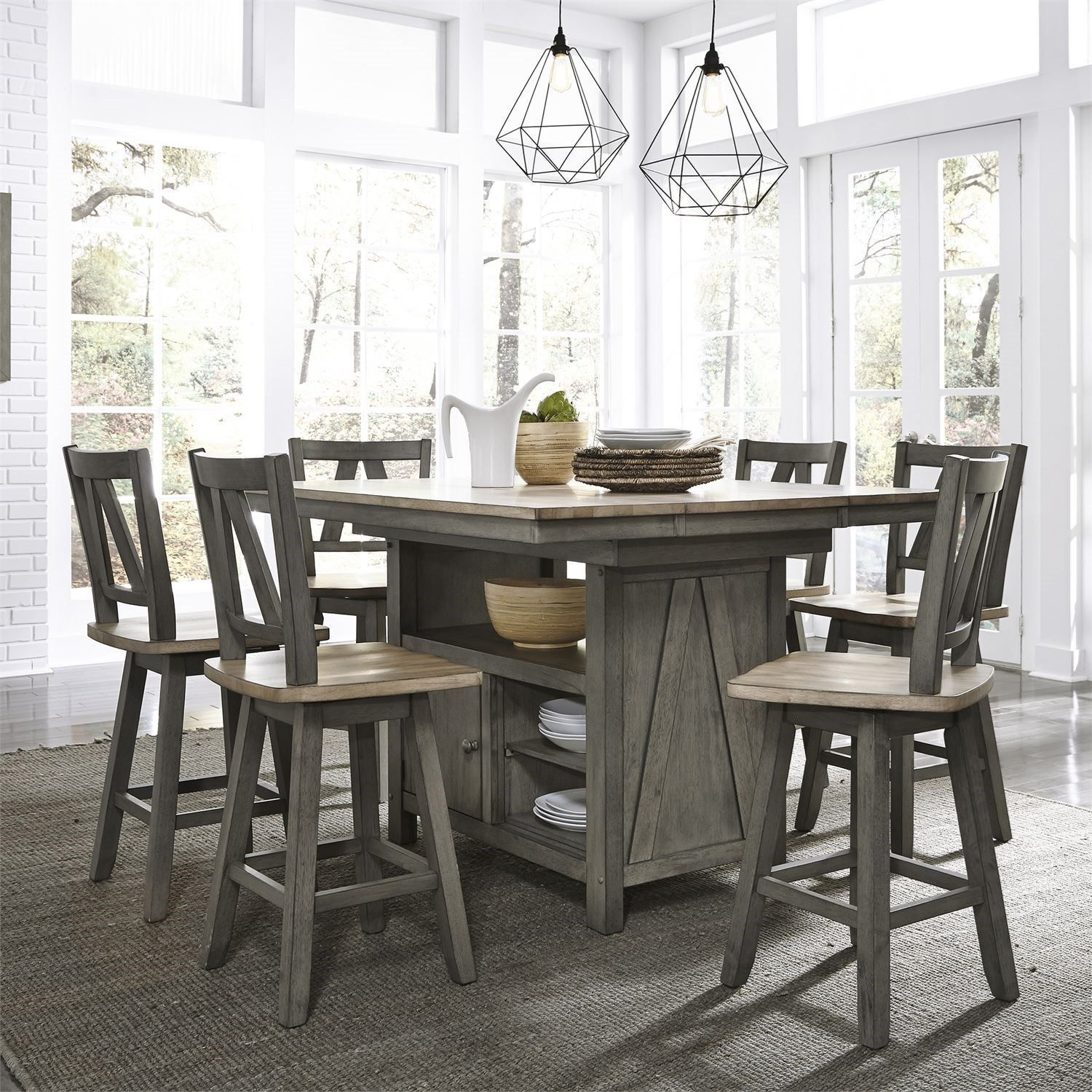 Transitional Two Toned 7 Piece Gathering Table Set By Liberty