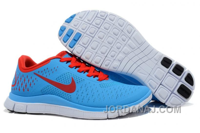 Nike Free 4.0 V2 Running Shoes Sky Blue Red