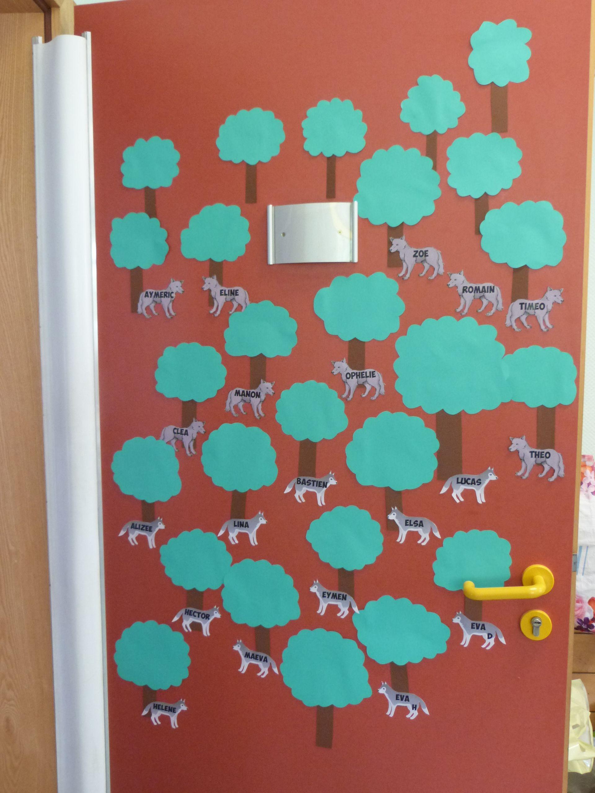 D co de porte d co de classe avec des loups le loup deco porte deco porte de classe - Decor de portes interieures ...