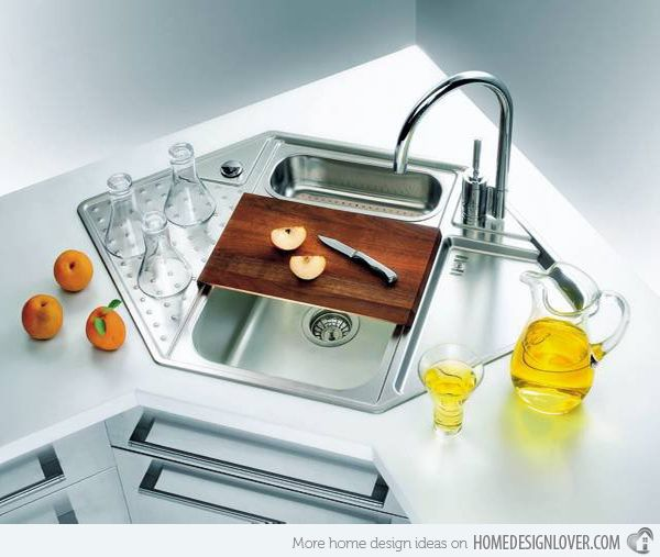 15 Cool Corner Kitchen Sink Designs Home Design Lover Corner Sink Kitchen Kitchen Sink Design Modern Kitchen Sinks