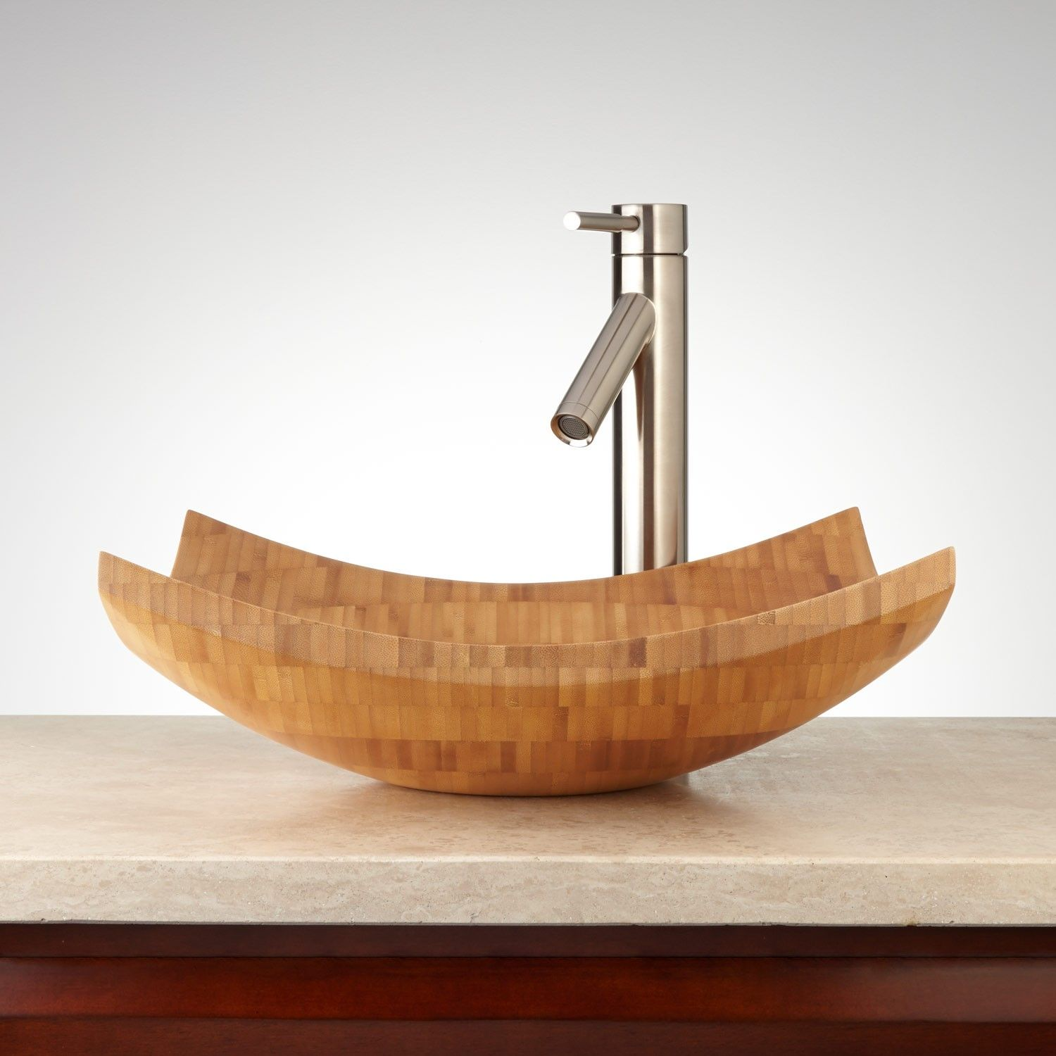 Cabrini Square Bamboo Vessel Sink | Vessel sink, Sinks and Wall ...