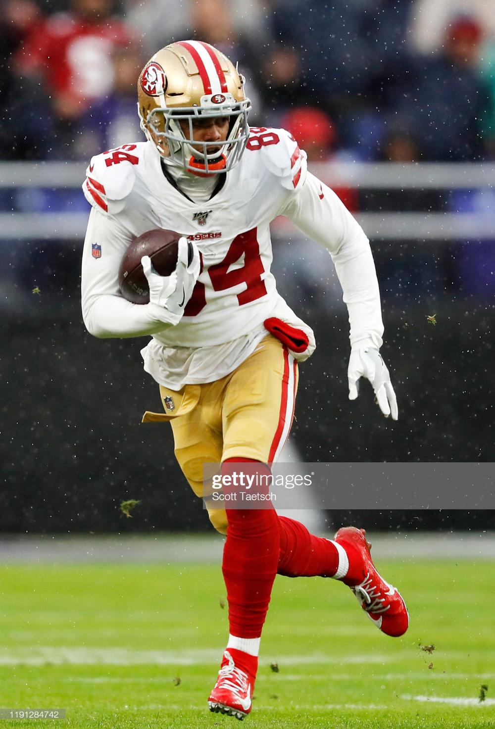 Kendrick Bourne Of The San Francisco 49ers Runs With The Ball During San Francisco 49ers San Francisco 49ers Football 49ers