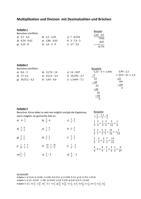 Multiplikation und Division mit Dezimalzahlen und Brüchen ...