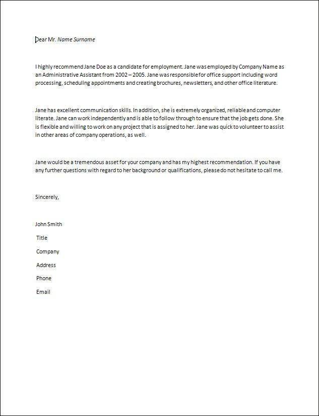 letter of recommendation samples – Sample Format of Recommendation Letter