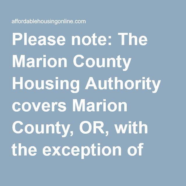 Marion County Housing Authority In Oregon Marion County County Author