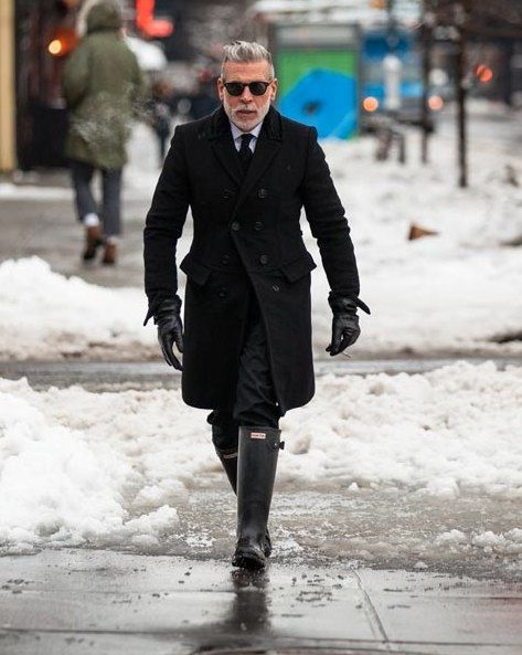 cbcc28ec4b2 Nick Wooster - the man. All black with black Hunter Wellington boots ...