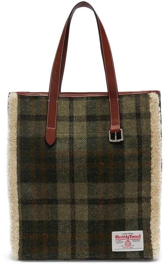 2928c0e53e01 J.W.Anderson Tartan Belt Tote with Genuine Shearling Trim