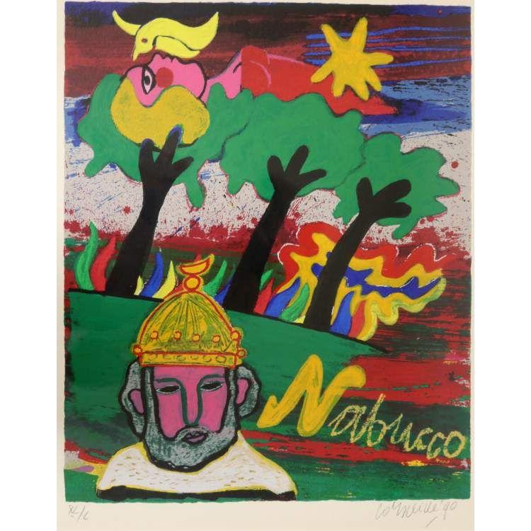 Title:'Nabucco' in potlood get. en gedateerd '90  Medium: kleurenlitho, XL/L,  Size: 43x36 cm