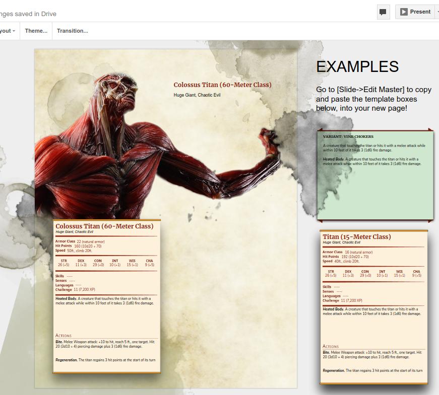 D&D 5e Monster Manual page template in google docs! | D&D Dede ...