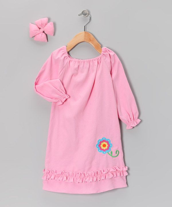 Take a look at this Molly Pop Inc. Light Pink Flower Peasant Dress & Bow Clip - Infant, Toddler & Girls on zulily today!