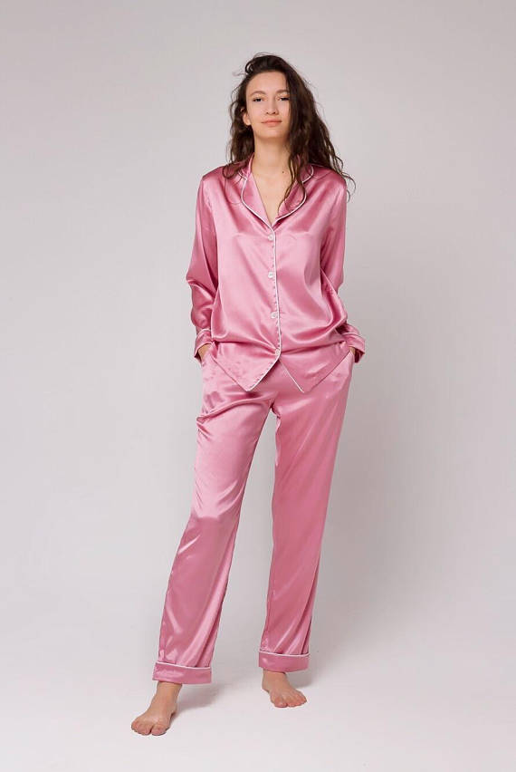 926ccc3a5031 Misty Rose Silk Pajamas by Serenity. Silk pajama set Long silk pajamas  Luxury sleepwear Silk loungewear Rose pink pajama Perfect gift for wife  Gift for ...