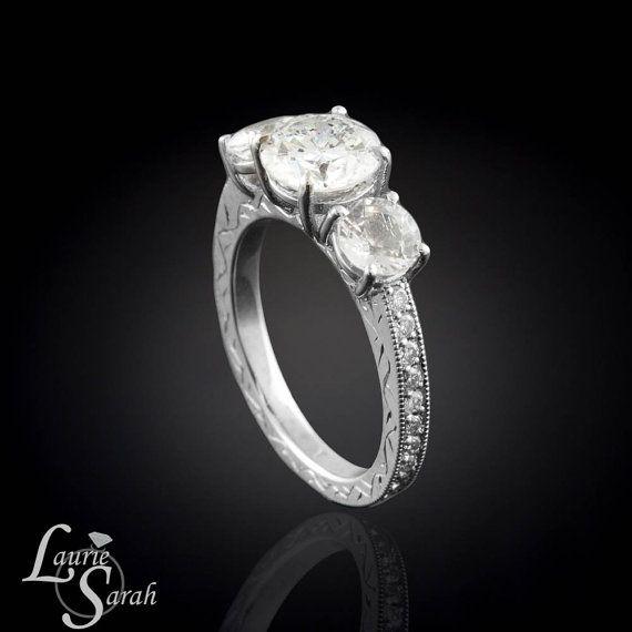 White Sapphire and 2 carat Diamond 3 Stone by LaurieSarahDesigns