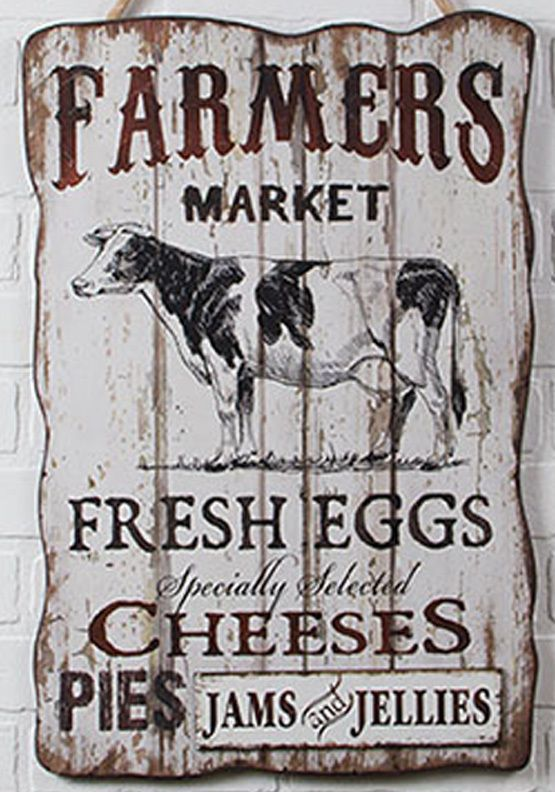 Large Primitive French Country Farmers Market COW Wood WALL Sign Rustic  Kitchen