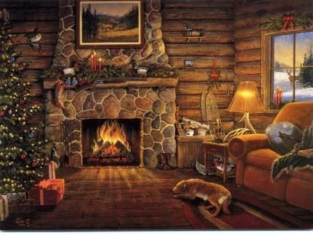 Christmas Fire Place.Log Cabin At Christmas Fireplace Cabin Christmas
