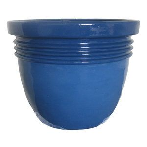 Better homes and gardens bombay 12 planter blue summer - Better homes and gardens flower pots ...