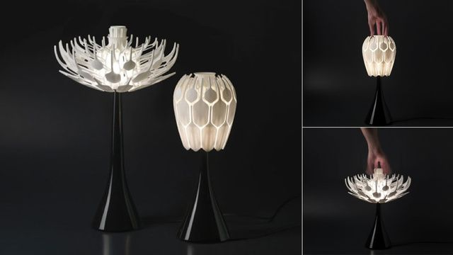 3d Printed Table Lamps Bloom Like Flowers Filled With Light Light Bulb Design Lamp Design Gadgets