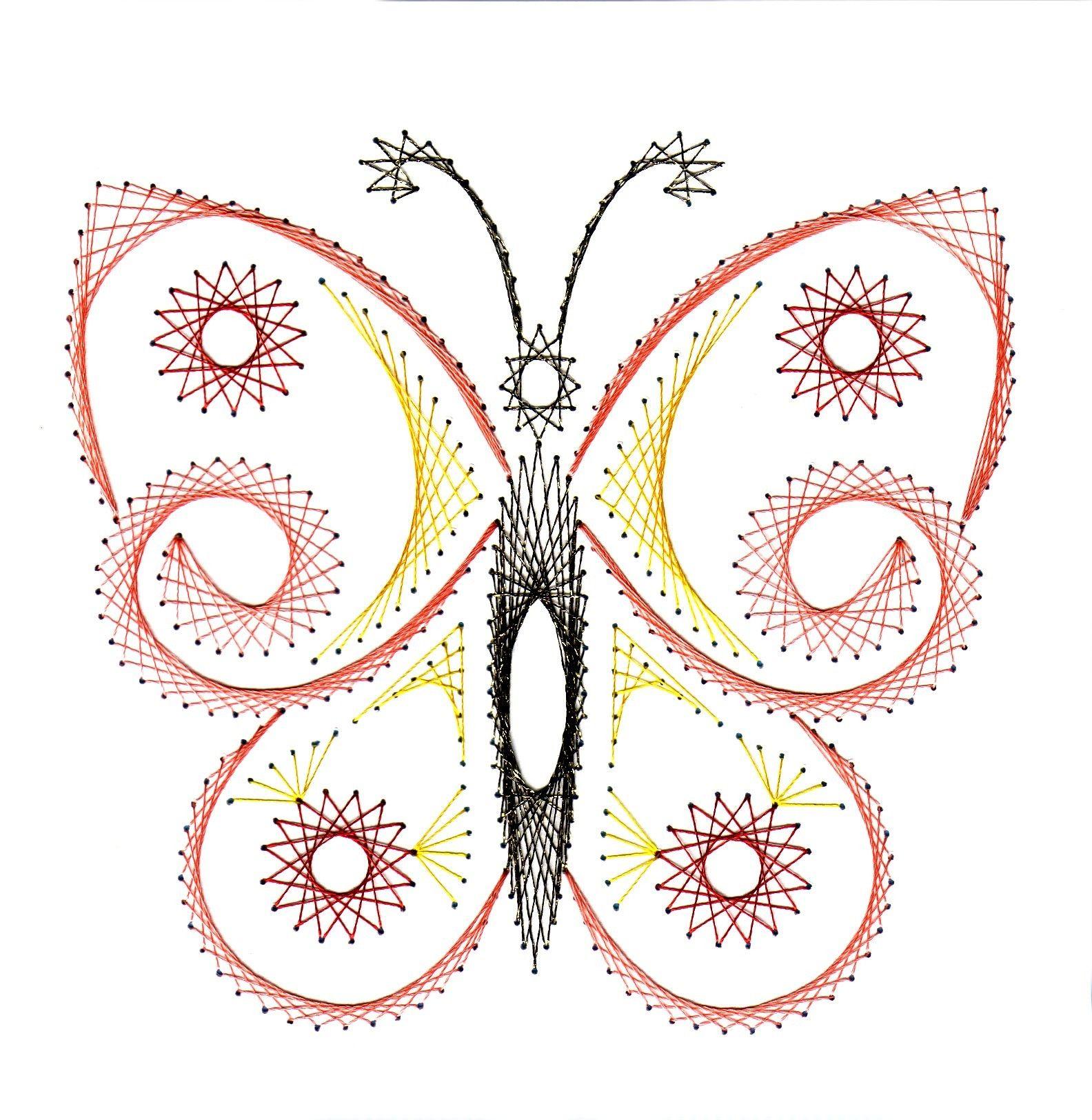 Butterfly fadengrafik fadengrafik faden und stickmuster - Fadenkunst vorlagen ...
