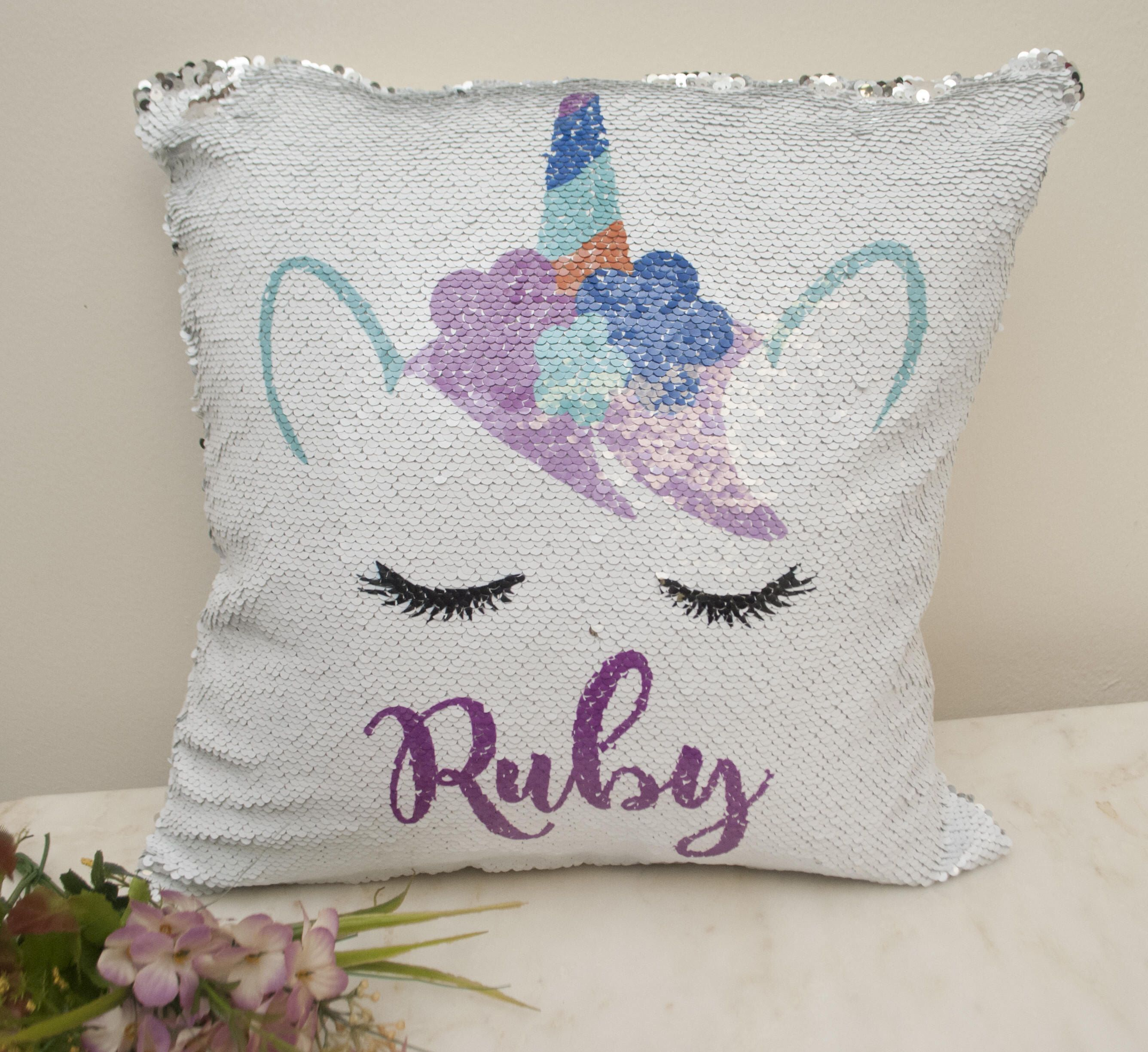 Personalized Mermaid Sequin Pillowcase Unicorn Pillow Cover Unicorn Personalized Pill Custom Pillow Cases Personalized Pillow Cases Personalized Pillow Cover