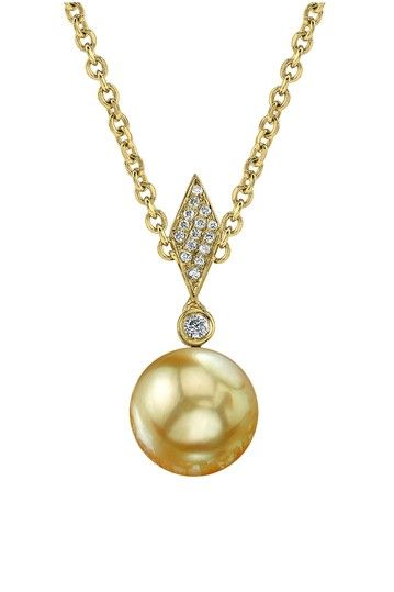14k yellow gold 9mm golden south sea pearl diamond shaped pendant 14k yellow gold 9mm golden south sea pearl diamond shaped pendant necklace aloadofball Images