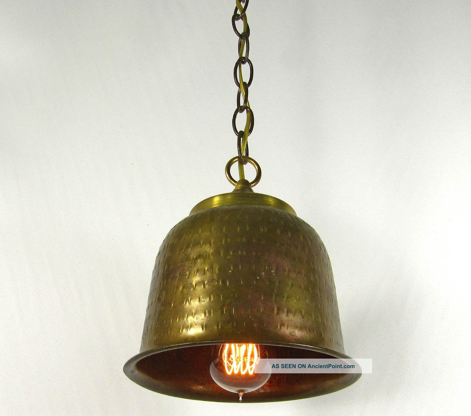 Vintage Pendant Cast Brass Hammered Lamp Shade Re Purpose Design Brass Canopy Chandeliers, Fixtures, Sconces photo