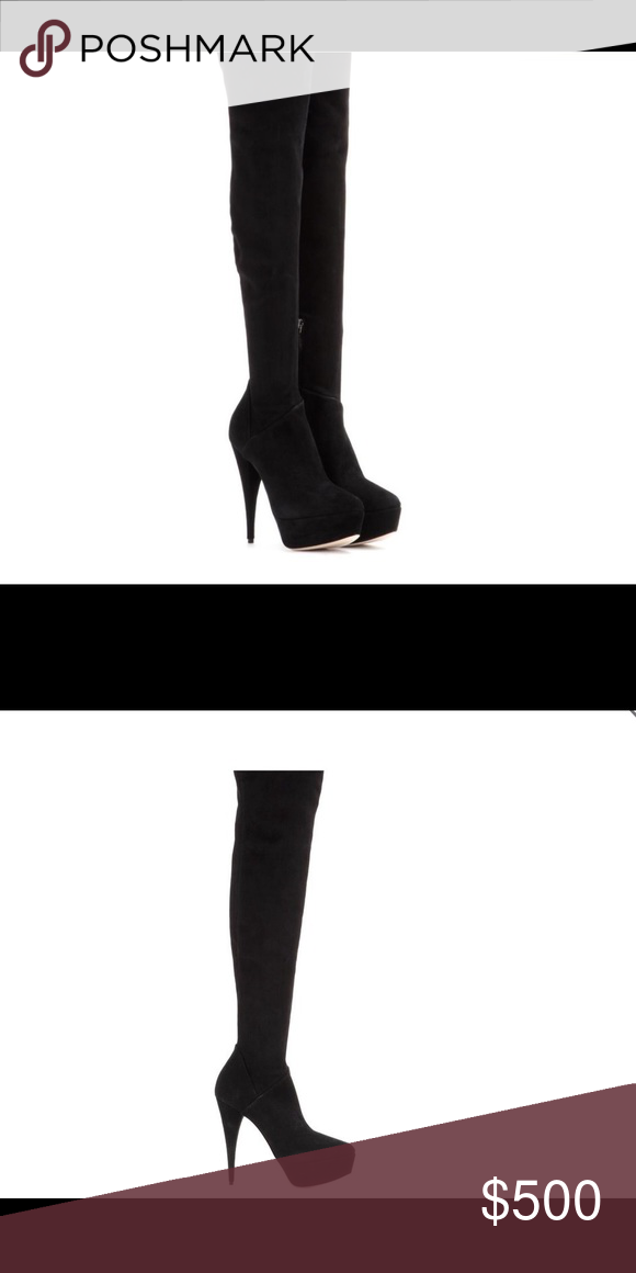 0935ccb2b11 Miu Miu suede boot-NEW 3 1 2 inch heel 💸 Amazing knee boot just in time  for Fall. Can be worn with skirt