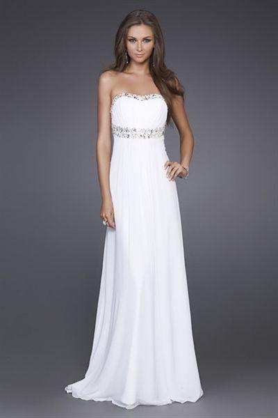 White Chiffon Prom Dress, Long White Formal Dresses, Dresses For ...