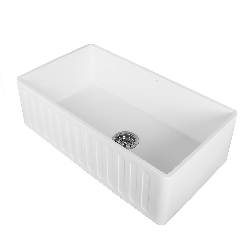 Vigo Matte Stone White Composite 33 In Single Bowl Reversible Slotted Farmhouse Apron Front Kitchen Sink With Strainer Vgra3318cs The Home Depot Stone Farmhouse Kitchen Sinks Farmhouse Sink Kitchen Stone Sink Kitchen