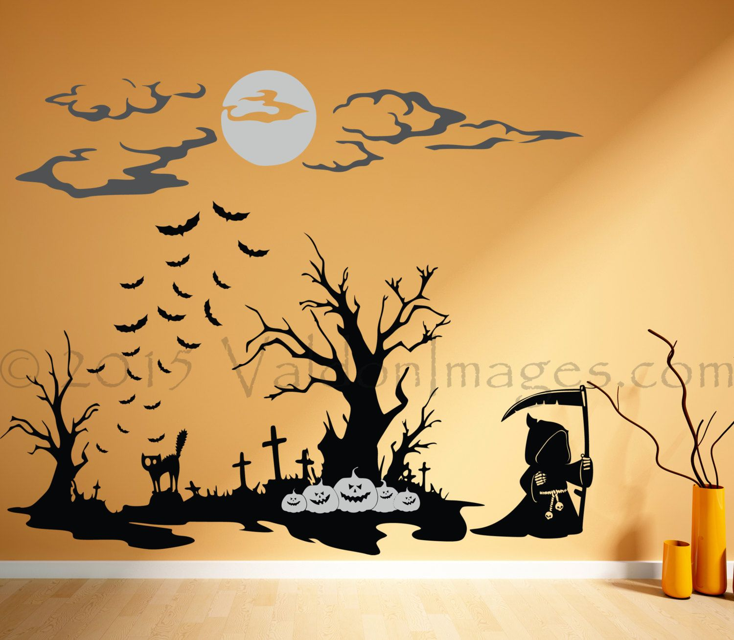 Grims keep wall decal, Halloween wall decal, grim reaper decal ...