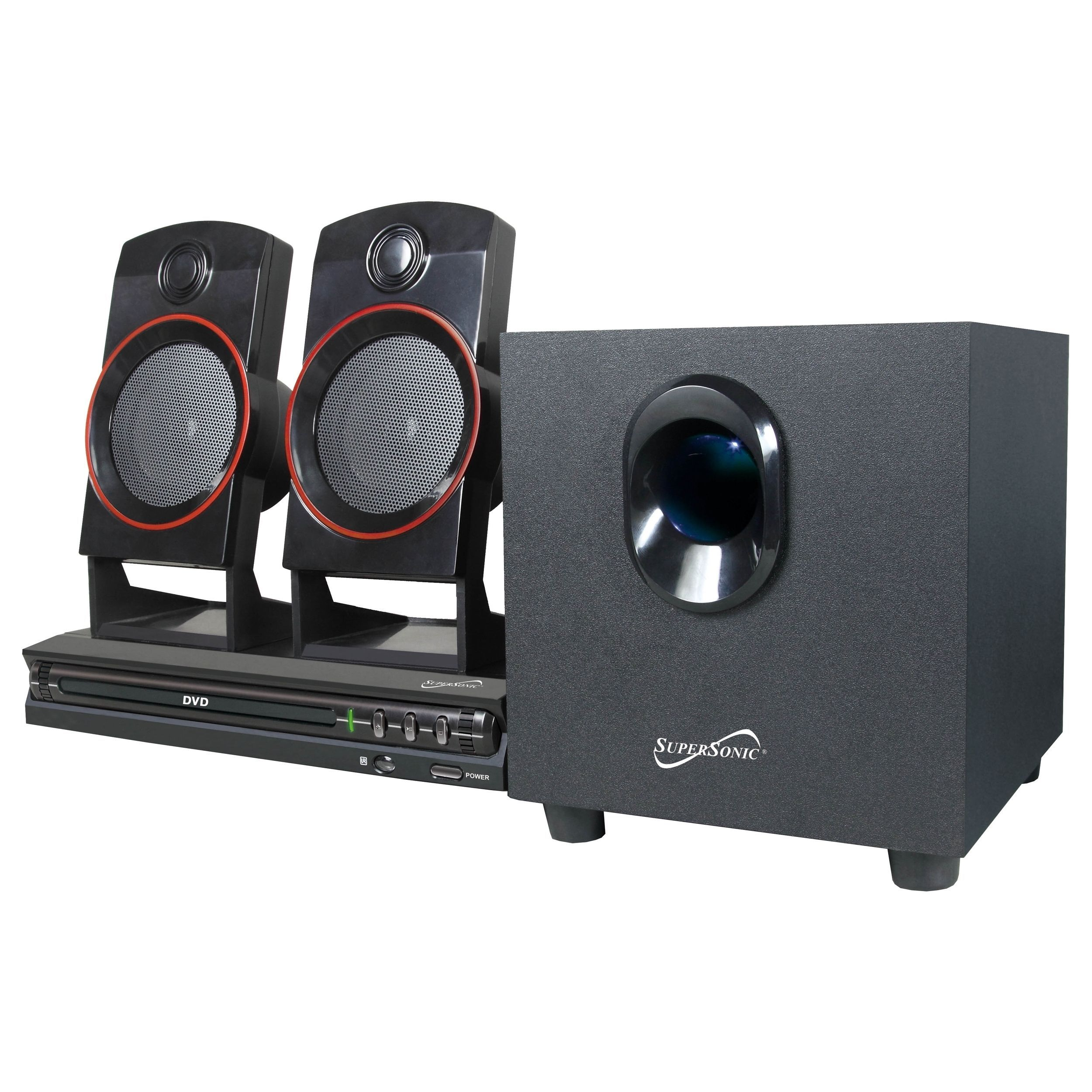 Supersonic Sc 35ht 2 1 Home Theater System 11 W Rms Dvd Player Dvd Home Theater System Home Theater System Surround Sound Systems