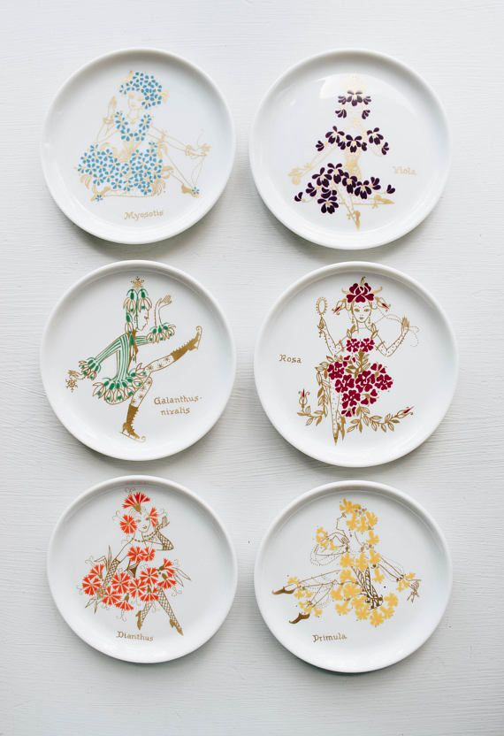 Mid Century Botanical Plate Set // Furstenburg // Bohemian