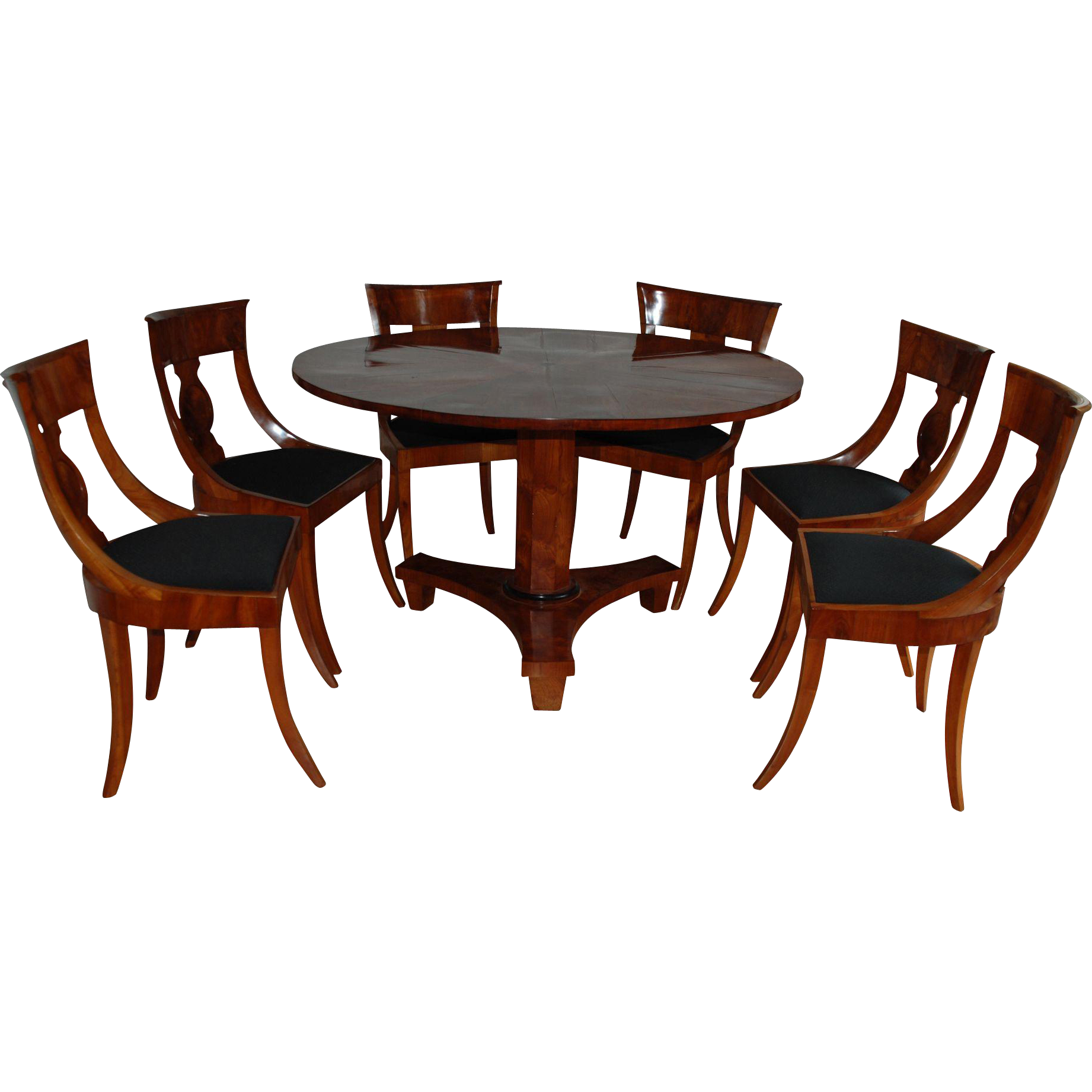 Biedermeier Dining Table And Six Chairs Germany Early 1900 Century
