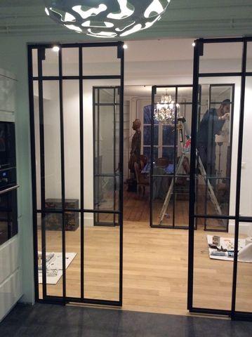Double porte coulissante verri re cuisine verri res d 39 int rieur ghislain verri re pinterest - Porte verriere interieure ...