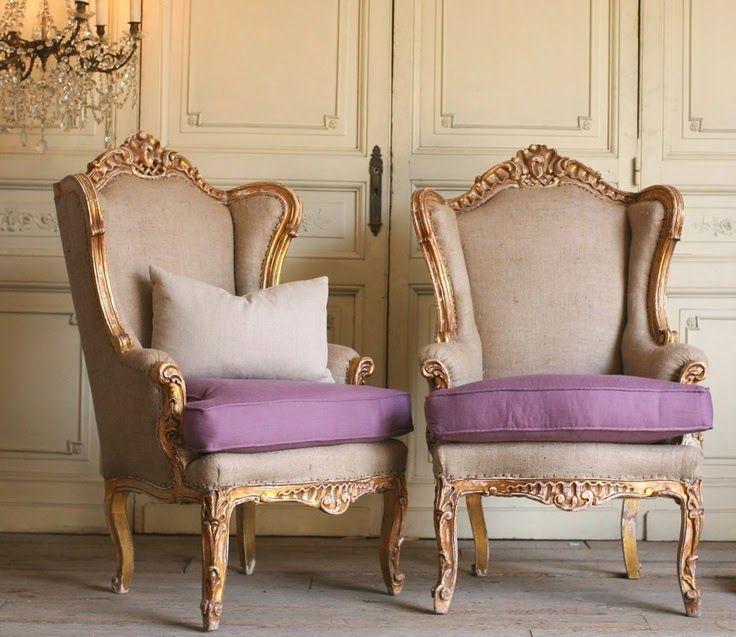 butacas francesas estilo luis xv tapizadas en color crudo y lila
