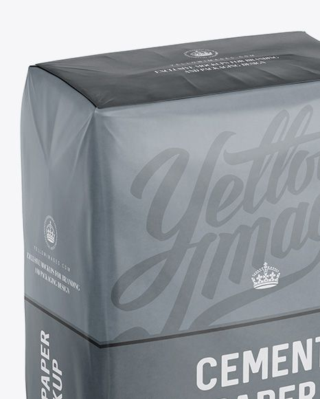 Cement Paper Bag Mockup - Halfside View (High-Angle Shot) (Close-Up)