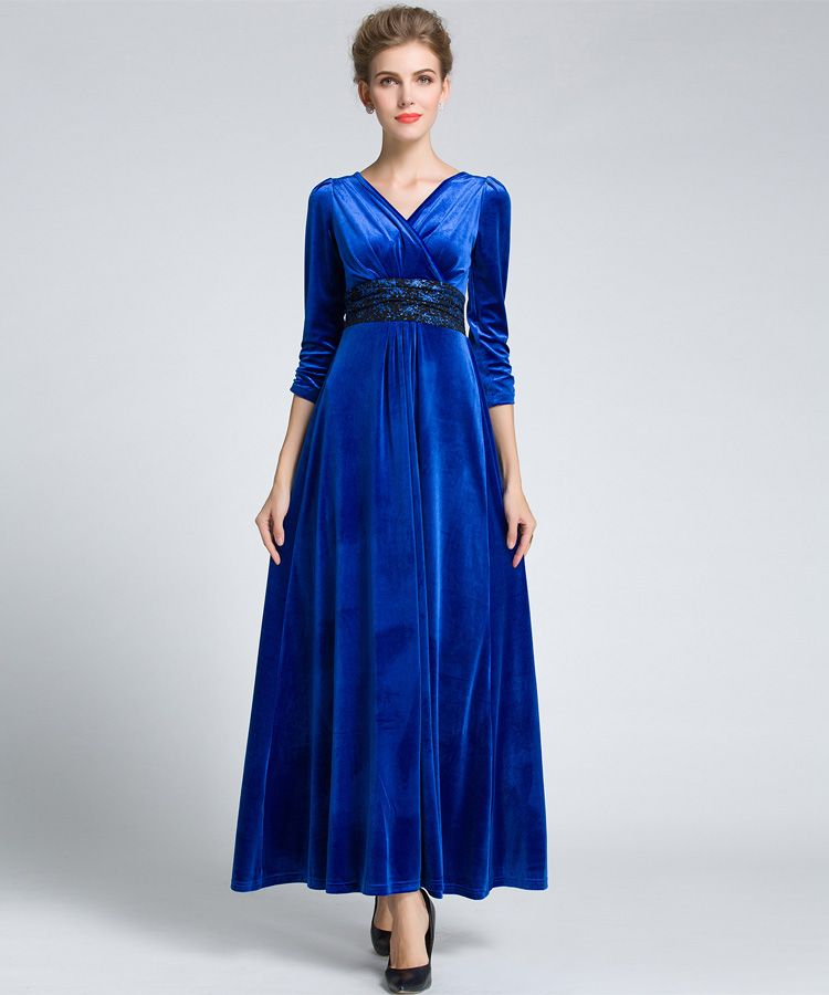 ed17e5e5074bd4 2016 Autumn Winter Women Plus Size Velvet Dress 3/4 Sleeve Maxi Dress  Evening Party