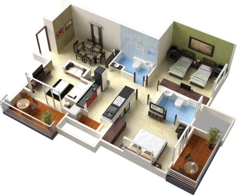 Modelos De Apartamentos 2 Habitaciones