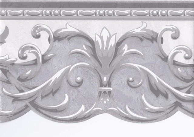 Interior Place Silver Grey White Swirl Molding Wallpaper