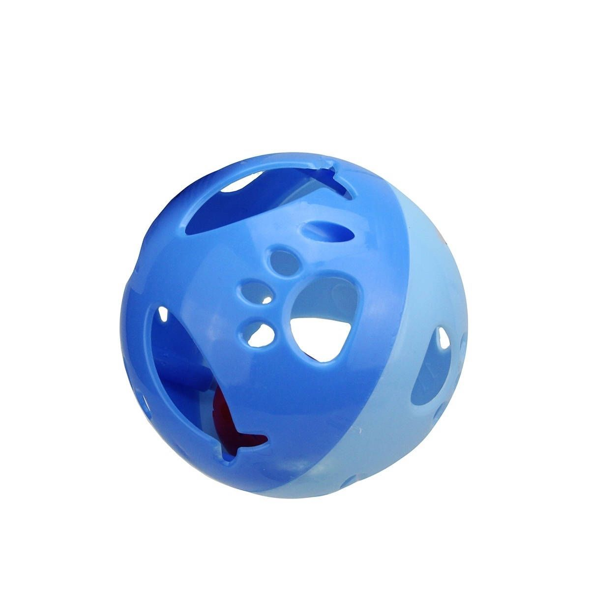 """4"""" Two-Toned Paw Print and Fish Cut-Out Cat Ball Toy with Jingle Bell"""