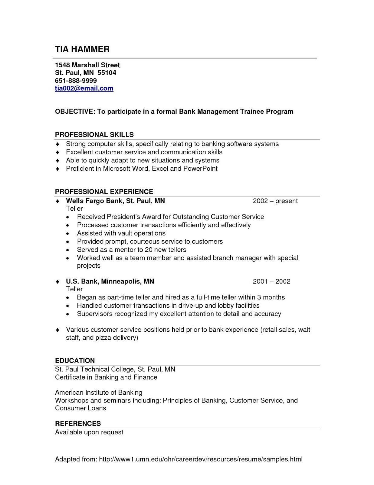 Bank Resume Template 2019 Bank Resume Template For