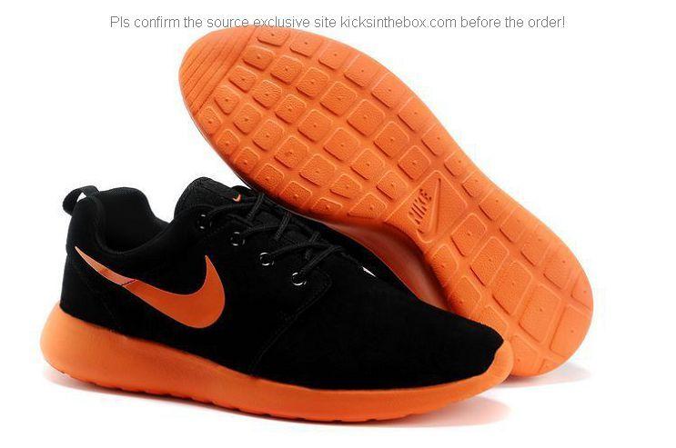 new style 55bc3 b0017 Nike Roshe Run Anti-fur Womens Shoes in BLACK Orange Basket Homme, Nike Air