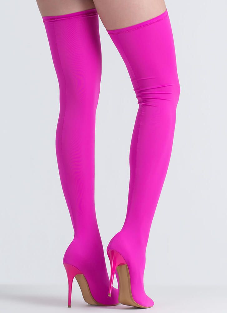 1cdf49e2d0b Pull Me Up Pointy Thigh-High Boots HOTPINK