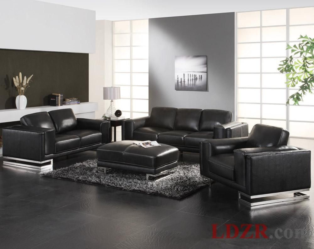 Living Room Mesmerizing Black Furniture Interior Leather Sofa In Home And