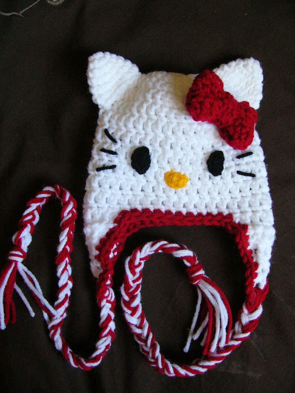 Hello Kitty Hat With Ear Flaps Crochet Newborn Baby Hat Baby Hat