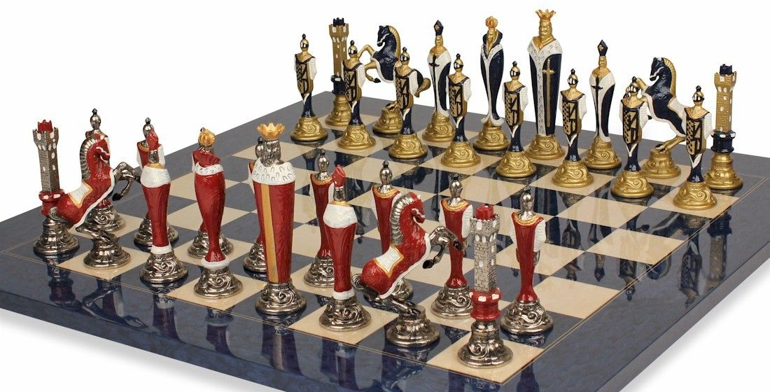 Renaissance Theme Chess Set in Brass & Nickel & Hand Painted with Deluxe Chess Board - The Chess Store